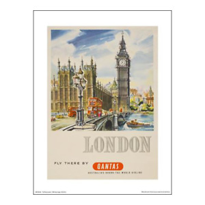 """Qantas Poster Print – London Fly There – Westminster – 40 x 30 cm 16"""" x 12"""""""
