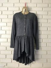 Tehen Irena Gregory Button Down Tunic Shirt  Cascading Skirt French Wool Gray