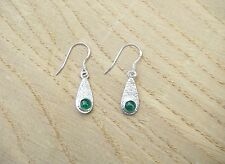 Handmade Sterling Silver & Emerald Drop Earrings