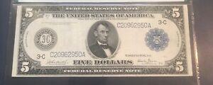 1914 federal reserve note $5 , Philadelphia,Burke glass PMG 25  , VF+, scarce