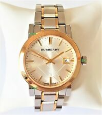 Burberry Watch Womens Silver Gold Band White Dial Silver Case BU9115 Genuine VIP