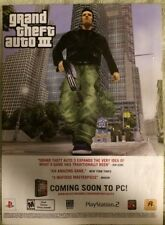 Grand Theft Auto 3 Poster Ad Print Playstation 2 Rockstar