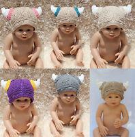 New Cotton Handmade Baby Tauren Viking Knit Hat Photo Prop Newborn to 5 Year