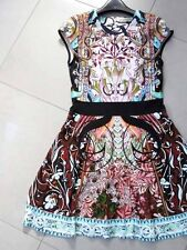 Mary Katrantzou Sirene Falsa Liala Printed Banded Waist Ponte A-Line Dress L