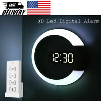 3D LED Digital Table Clock Alarm Mirror Hollow Wall Clock Modern Night Light