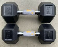 🔥Fast Ship!!NEW CAP 25LB PAIR OF RUBBER COATED HEX DUMBBELLS Set 50 Pound