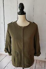 Anthropologie Sanctuary Jacket Sz M Green Long Sleeve Full Zipper Military Style