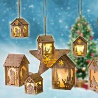 LED Light Wooden HOUSE Christmas Tree Glowing Hanging Ornaments Decoration NEW