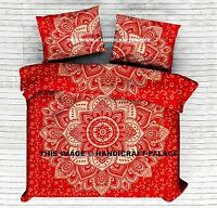 Indian Ombre Mandala Printed King Size Red Duvet Cover Reversible Bedding Set