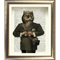 ART PRINT ON ORIGINAL ANTIQUE BOOK PAGE OWL Old DICTIONARY Picture Bird Animal