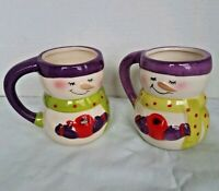 Bay Island Snowman Mugs Hot Cocoa Christmas Purple Edging Set Of Two 2015