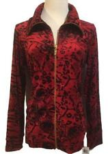 Style & Co. Sport Zip Front Jacket NWT Sz M Red Velour Black Animal Print Floral