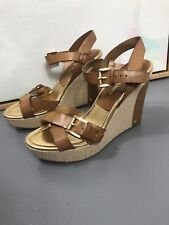 155168be88a2 Audrey Brooke Abhollie 9M Brown Wedge Platform Strappy Buckle Sandals  Espadrille