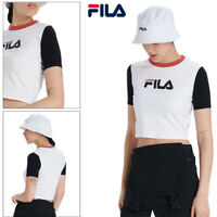 Fila Womens Anna Cropped Tee Athletic  Fitness Running Workout T Shirt White Top