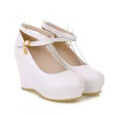 Sweet Womens Round Toe High Wedge Heel Shoes Ankle Strap Pumps Princess 34-43 BB