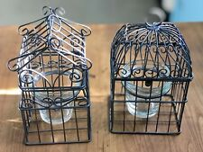 Two Small Metal Country Birdcage Candle holders W/Glass Votive Holders