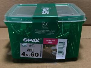 SPAX 4.5 x 60mm T20 Timber Decking Screws - Box of 250 NEW + Torx Drill Bits