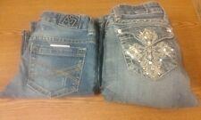 Lot of 2 Jeans LA Idol  Flap Pockets Rhinestone Bling Cross & Aeropostale size 0