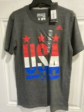 Team USA Soccer Adidas Dark Heather Go To Performance Mens Tee Shirt NWT