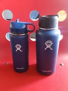 2 Lot Hydro Flask 18 oz 32 oz Cobalt Blue Wide Mouth Used