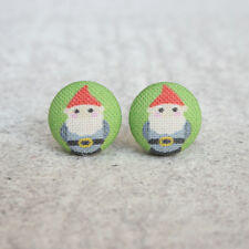 Lawn Gnome Fabric Button Earrings