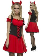Adult Womens Fever Wicked Red Devil Halloween Fancy Dress Costume - Small