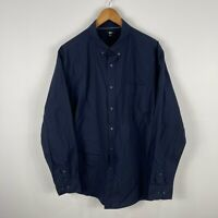 Uniqlo Mens Button Up Shirt XL Extra Large Blue Long Sleeve Collared
