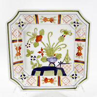"""Vintage Faience Hand Painted Floral Flowers Still Life 8"""" Square Dish Plate 0098"""