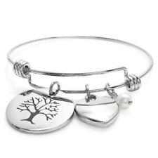Stainless Steel Tree, Heart, & Pearl Adjustable Bangle Charm Bracelet