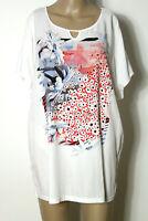 GERRY WEBER T-Shirt Gr. 46 weiß Long Damen T-Shirt mit rosa-blauen Blumen
