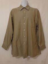 CALVIN KLEIN Long Sleeve Button Front Beige Shirt Mens Size LARGE 16 32/33
