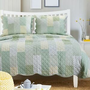 RELAX COMFORT BLUE SAGE GREEN BEACH OCEAN YELLOW PLAID COUNTRY QUILT SET KING