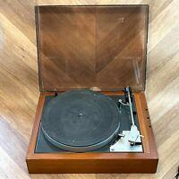 Vintage Goldring Lenco GL 69 Turntable Vinyl Record Player, Teak Wood, Working