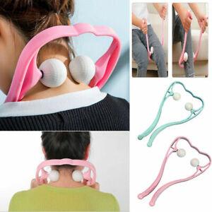 Hand Roller Neck Shoulder Dual Trigger Point Self Massager Pressure Relieve Tool