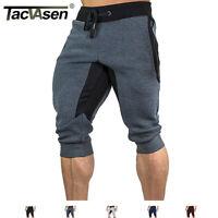 TACVASEN Mens Cotton Jogger Shorts 3/4 Capri Pants Sport Sweatshorts Sweatpants