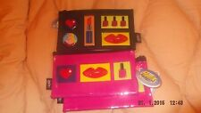 rubber and vinyl pencil case/ make up bag  with all over make up decoration