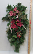 Christmas Door Wall Hanging Swag Artificial Pine Bows Poinsettia Flowers Glitter