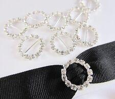 12 Glass Crystal Rhinestone Silver Buckle/Charm Ribbon/Trim Slider E29-Round