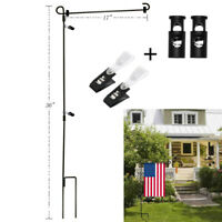 """Wrought Iron Yard Garden Flag Stand Pole 36"""" Post Outdoor Holiday Decor Holder"""