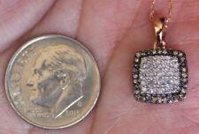"Champagne & White Diamond 1/7ct Cluster Halo Pendant Necklace 10k Rose Gold 18"""