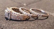 3 Ring Set 14ct Yellow Gold 1ct Diamonds Engagement 9ct White Wedding & Eternity