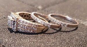 L☆☆K    3 Ring Set Yellow White Gold Diamonds Engagement Wedding Eternity ☆SALE☆