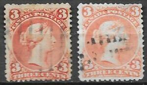 Canada 1868 3c red Large Queen Scott 25 2 nice used stamps diff shades see scans
