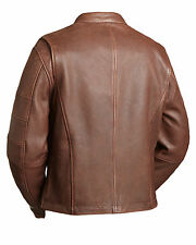 "FMC Mens Brown Leather Motorcycle Scooter Jacket ""THE MANCHESTER"" FIM255CAZ larg"