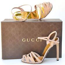 GUCCI New sz 38 - 8 Designer Gold Studded Beige Womens Sandals Heels Shoes