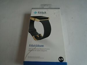 Fitbit Blaze Accessory replacement Leather Wrist Band & Frame Small Gold OEM bx