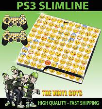 PLAYSTATION PS3 SLIM EMOJI FACES ICONS MOODS SMILEYS SKIN & 2 PAD SKINS