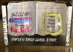 FRIENDS TV SHOW  set of 2 GLASSES YOU ARE MONICA TO MY RACHEL & THE ONE WITH