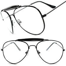 Old School Classic Vintage Retro Black 80's 90's Aviation Clear Lens Eye glasses