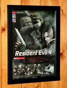 2004 Resident Evil 4 PS2 GameCube Capcom Old Promo Poster Ad / Art Print Framed.